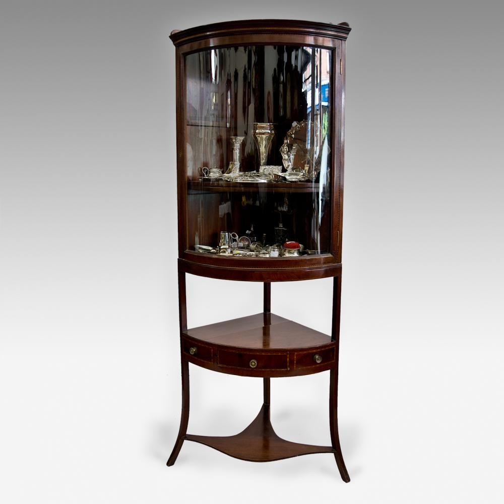 Inlaid mahogany corner display cabinet for Antique display cabinet